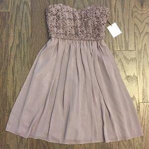Calvin Klein Strapless Ruched flower Dress